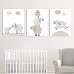 beige and gray lamb nursery decor