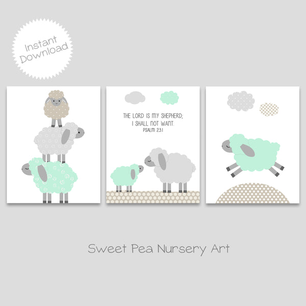 mint lamb religious nursery art