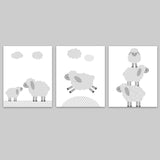 grey and white lamb nursery decor