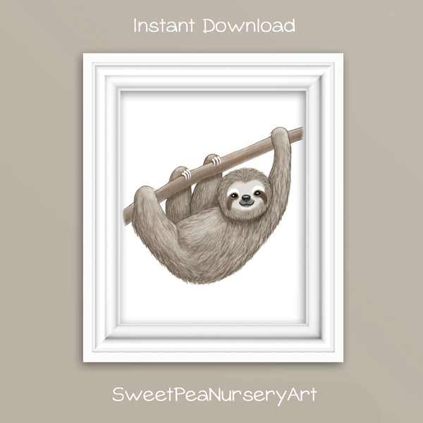 printable sloth watercolor print