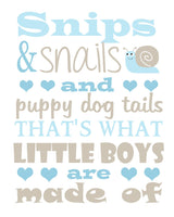 what little boys are made of nursery print