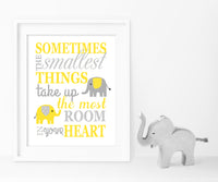 grey and yellow elephant nursery canvas