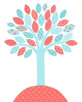 tree nursery print in aqua and coral