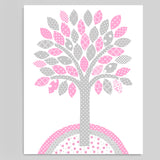 tree nursery print in grey and pink
