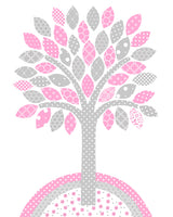 gray and pink tree print for baby girl