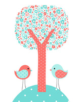 Nursery print of two birds and a tree