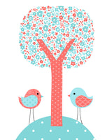 Aqua and coral print of tree with birds