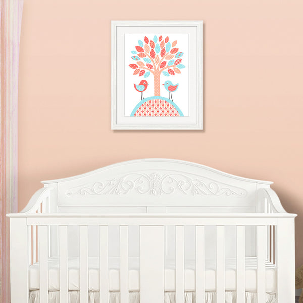 nursery art print of a tree with 2 birds in aqua coral and peach