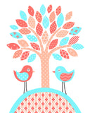 Nursery print of a tree with two birds