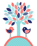 Nursery art print of a tree and two birds in aqua, coral and navy
