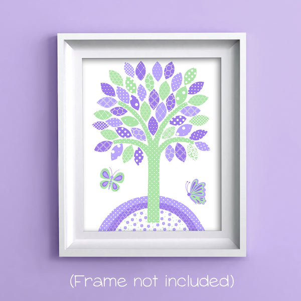 nursery print of a tree with butterflies in green and purple