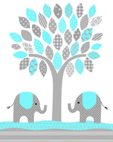 nursery picture of a tree with two elephants