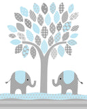 blue and grey elephant nursery print