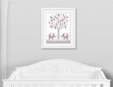 tree with elephants nursery print