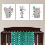 Set of three boho tribal zoo animal canvas prints