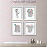 tribal nursery art set of four elephant, giraffe, lion and hippo