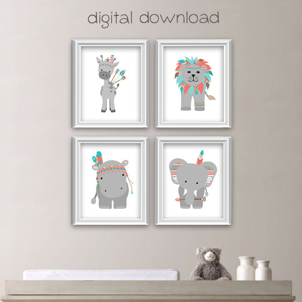 printable tribal zoo animal nursery art