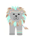 tribal lion nursery print