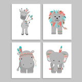 set of four tribal zoo animals in American Indian style headdresses and arrows.