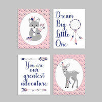 pink and navy tribal nursery decor