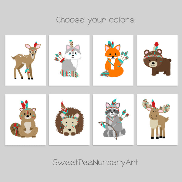 tribal indian woodland animal nursery prints