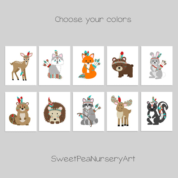 set of 10 tribal woodland animal nursery prints
