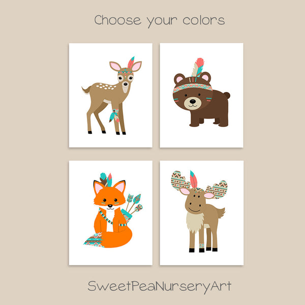 set of four tribal woodland animal nursery art prints