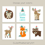 set of 6 tribal woodland animal nursery prints