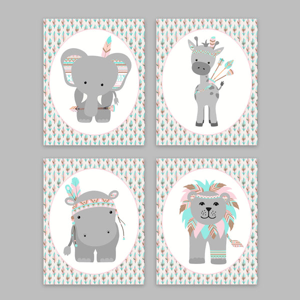 Set of 4 prints of zoo animals in tribal gear. Colors are peach, gray and aqua. Arrows background.
