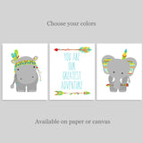 set of three tribal zoo animal prints