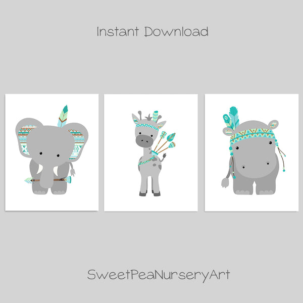 Printable tribal zoo animal nursery pictures