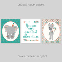 tribal elephant and giraffe prints with you are our greatest adventure saying print