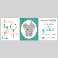 set of three tribal nursery prints