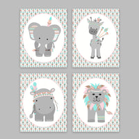 tribal zoo animal nursery prints