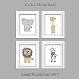Tribal zoo animal digital files in beige and gray Lambs & Ivy Jungle Safari