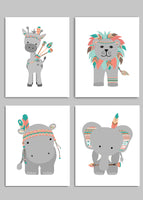 set of four printable files of a lion, elephant, giraffe and hippo wearing Indian style headdresses, feathers and arrows.