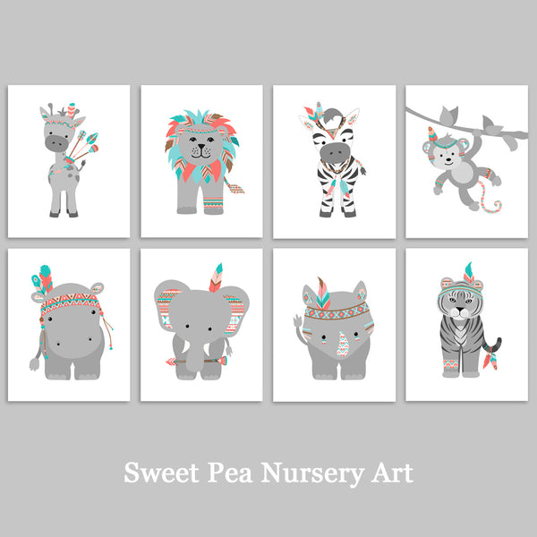 set of 8 tribal zoo animal art prints