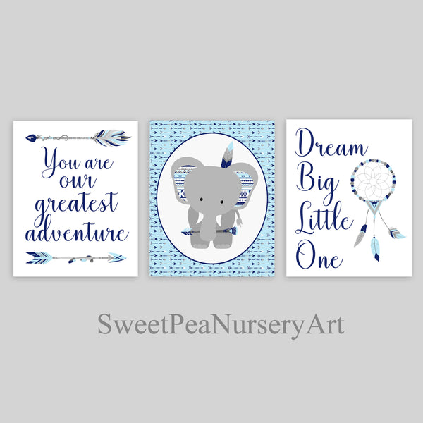light blue and navy tribal nursery decor