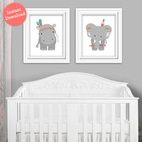 Printable Tribal Zoo Animal Nursery Decor | Print Yourself | DIY | Hippo and Elephant