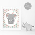 Boho style tribal elephant print for nursery