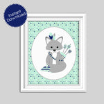 printable boho tribal fox nursery art print mint and navy