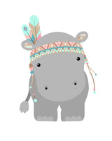 tribal hippo nursery art