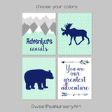 mint and navy adventure nursery decor