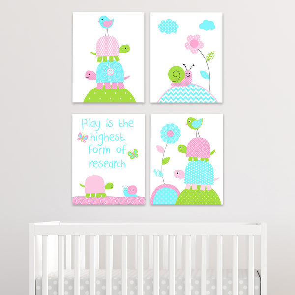 baby girl turtle nursery prints