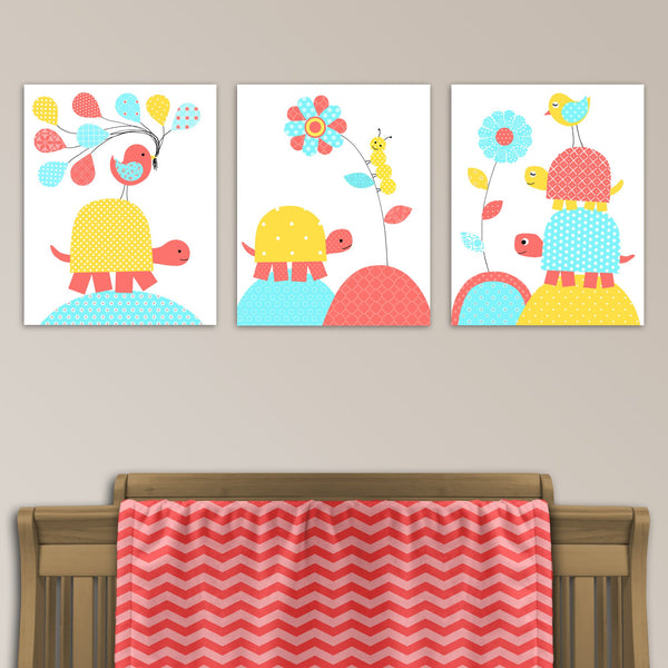 Aqua, coral and yellow turtle nursery canvas prints