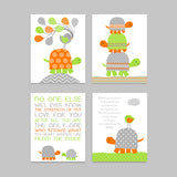 set of four orange and green turtle nursery prints