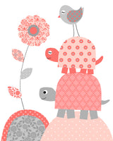coral and grey turtle decor