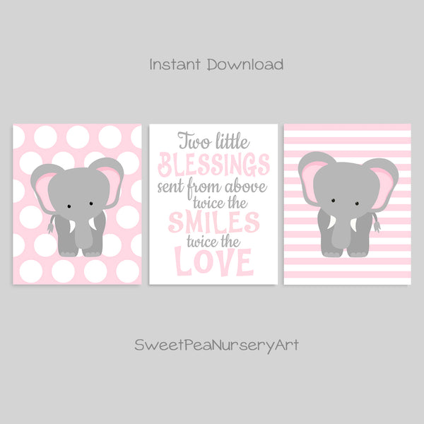 printable twin elephant decor