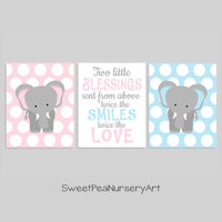 twin elephant nursery art