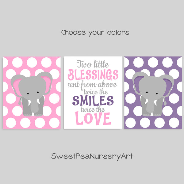 pink and purple twin elephant decor